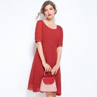 时尚品牌法国小众连衣裙大码微胖2019新款大码女装200斤胖mm洋气遮肚仙裙SN5796 红色