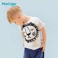 【119元4件】马卡乐童装219夏新品男童卡通印花多色短袖T恤狮子印花纯棉上衣