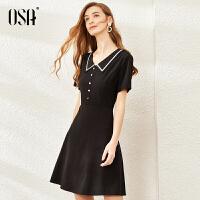 【领券立减价:187】欧莎黑色v领连衣裙女夏季2020新款显瘦赫本风小黑裙气质衬衫裙子
