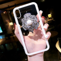 水钻花朵苹果X手机壳7新款iphone6玻璃壳8plus女挂绳潮牌抖音支架