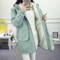 秋冬韩版学院风初中生羊羔毛中长款加绒加厚棉衣外套女生 S (95斤以下)