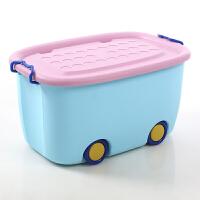 加大号收纳箱儿童卡通整理箱塑料衣服玩具储物筐宝宝带轮收纳盒子