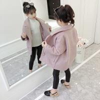 童装女童洋气外套秋装2018新款韩版中大儿童女孩毛呢大衣中长款潮