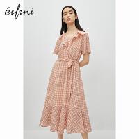 伊芙丽连衣裙女2020年新款夏季荷叶边v领格子小心机显瘦仙女裙子