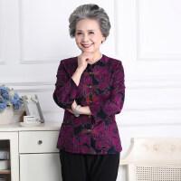 妈妈春秋装长袖衬衣6070岁80中老年人唐装女太太衣服奶奶薄款外套