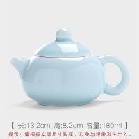 青瓷茶壶陶瓷哥绿茶壶手工功夫茶具泡茶汉扁壶