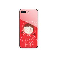 iPhone小红帽手机壳苹果6/6splus可爱卡通钢化玻璃保护套7P红色全包新款8x镜面壳