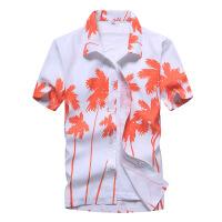 海南三亚旅游男士沙滩衬衣宽松速干衬衫薄2018夏季短袖碎花沙滩衣 17红色 S