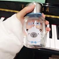 玻璃杯便携杯子女学生创意水瓶韩国清新可爱简约韩版水杯