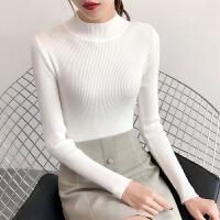 2019秋冬弹力针织毛衣套头打底衫长袖半高领修身白色毛衣女