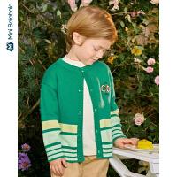 迷你巴拉巴拉男童毛衣2020年春秋新款儿童毛衫胸口印花洋气开衫