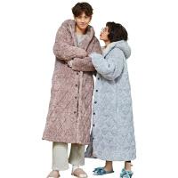 冬季情侣睡衣加长款保暖浴袍三层加厚夹棉珊瑚绒男女士家居服睡袍