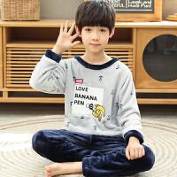 儿童家居服套装男童法兰绒睡衣秋冬季5内衣6珊瑚绒7保暖8加绒9岁