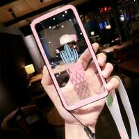 仙人掌苹果6splus手机壳女挂绳iphoneX玻璃壳全包7/8p保护套新款