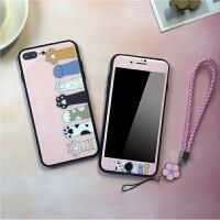 猫咪苹果X钢化玻璃手机壳iphone8plus保护套7P钢化膜6sp彩膜软边 6/6s 4.7寸 钢化粉爪