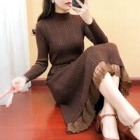 秋冬蕾丝女装春长款针织衫连衣裙长袖圆领韩版毛衣打底过膝百褶裙