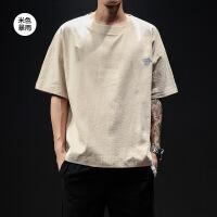 劲体��男短袖夏季宽松男短袖t恤潮流2019新款大码潮牌亚麻短袖男