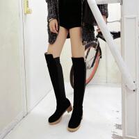 彼艾2017秋冬新款女鞋正品高筒靴骑士靴女粗跟过膝保暖长靴瘦腿弹力靴女靴子