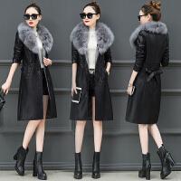 皮衣女中长款韩版新款秋冬季修身加绒夹克气质大毛领女士外套