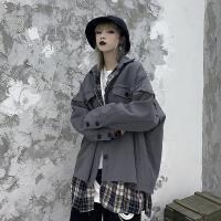 外套女秋冬韩版ins原宿风街头复古格子两面穿夹克宽松学生上衣穿