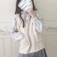 秋冬季日系V领无袖毛衣女背心学院风短款口袋套头针织衫马甲