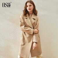 【3折折后价:229元】OSA欧莎气质毛呢外套女春秋季2021年新款中长款过膝显瘦高端呢子大衣