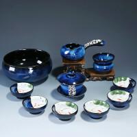 景德�茶具套装家用整套陶瓷简约建盏鎏银功夫茶杯盖碗茶壶 10件