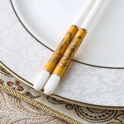 陶瓷筷子家用防滑欧式酒店象牙筷子礼盒套装瓷都餐具