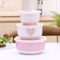 陶瓷碗套装可微波炉加热专用可爱带盖女生家用饭盒便当盒学生碗筷