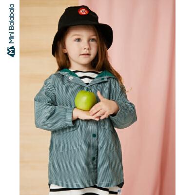 【满200减130】迷你巴拉巴拉儿童外套男女童中长款连帽外套2019秋新款格子便服