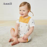 【抢购价:41.9】安奈儿童装新生婴儿服装2020夏季新款A标萌趣男女宝宝短袖连体衣