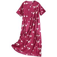 连衣裙女夏季2019新款女装宽松波点短袖红色胖妹妹显瘦裙子 梅子色