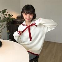 秋冬娃娃领系带毛衣女学生韩版宽松百搭显瘦套头长袖针织外套