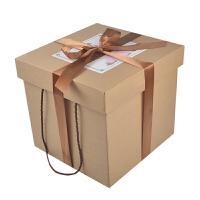 正方形纸盒 大号牛皮纸零食礼盒空 盒正方形520送男女礼物包装盒礼品纸盒 定制文字+丝带 咨询客服