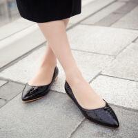 彼艾2016春季新款女鞋单鞋女低跟平底鞋尖头休闲韩版工作鞋浅口石纹套脚女鞋