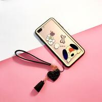 苹果7plus手机壳iphone8透明玻璃套7P硅胶6s卡通女款防摔X个性壳 6p/6sp(5.5寸) 小狗+挂绳