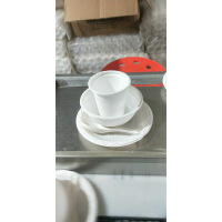 一次性餐具碗碟杯勺四件套鑫科玉米淀粉环保饭店餐具塑料包100套 米