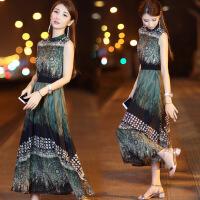 连衣裙女夏2018新款韩版女装无袖修身收腰显瘦复古印花雪纺长裙女 绿色