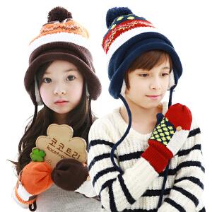 韩国kk树儿童帽子秋冬款宝宝保暖加绒护耳帽男女潮版小孩手套帽子