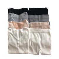 秋冬女装韩版甜美加绒加厚保暖打底内衣睡衣睡裤两件套家居服套装 均码