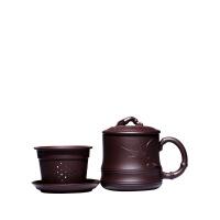 宜兴紫砂杯茶杯带盖杯全手工紫砂杯子内胆过滤泡茶贴竹叶杯子 图片色