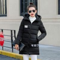 棉衣女中长款修身显瘦韩版学生女士大码加厚冬装棉袄 S 建议65-85斤