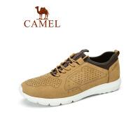Camel/骆驼男鞋秋冬季休闲鞋男运动鞋子男潮百搭磨砂牛皮真皮鞋耐磨板鞋