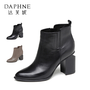 【8月26日0点 下单立享2折】Daphne/达芙妮秋冬短靴尖头英伦风粗高跟切尔西短靴女1016605027