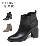 Daphne/达芙妮秋冬短靴尖头英伦风粗高跟切尔西短靴女1016605027