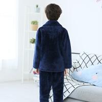 儿童法兰绒睡衣厚款冬季男孩子中大童套装秋冬男童珊瑚绒