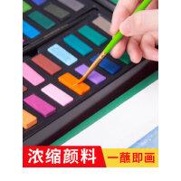 固体水彩颜料36色绘画工具盒子手绘水彩画笔套装无毒可洗颜料盒便携式调色水粉学生用儿童美术生初学者画画