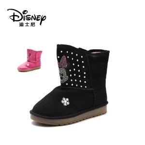 【达芙妮集团】迪士尼 冬女童中筒冬靴米妮童鞋短毛绒保暖