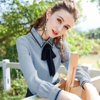 白衬衫女长袖2018春秋女装新款韩版蝴蝶结OL职业雪纺上衣打底衬衣