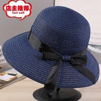 夏季韩版沙滩帽小沿帽时尚女士蝴蝶结飘带遮阳帽草帽批发